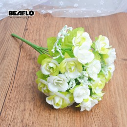 Sztuczny kwiat róży jedwabny bukiet w stylu europejskim sztuczne kwiaty małe pąki róże Bract sztuczne ślubne dekoracje strona gł
