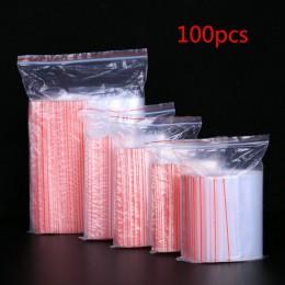 100 sztuk/partia mała biżuteria Zip Lock plastikowe przezroczyste torby wielokrotnego zamykania przezroczysty pojemnik na żywnoś