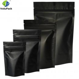 Wysokiej jakości 100 sztuk uszczelnienie termiczne opakowanie z zamkiem strunowym torby folia aluminiowa Mylar Tear Notch matowy