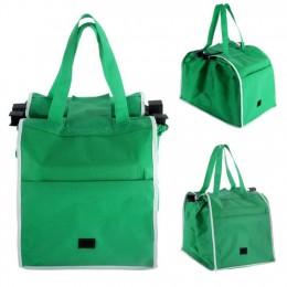 Wielokrotnego użytku duży wózek Clip-To-Cart sklep spożywczy Supermarket torby na zakupy przenośny zielony płócienna torba skład