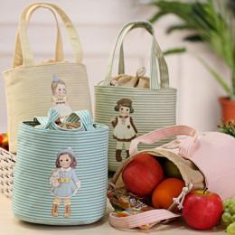 Przenośna torba na lunch ze sznurkiem dla ładnych dziewcząt torba termiczna z izolacją cooler lunch torba do przechowywania Bent