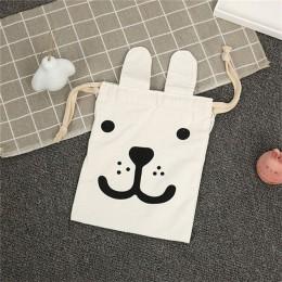 Torby do przechowywania płótna Cartoon królik uszy plecak ze sznurkiem organizator pokoju dziecięcego na zabawki i ubrania dla d