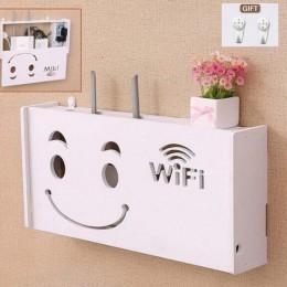 Bezprzewodowy Router wi-fi schowek panel pcv półka ścienna wisząca wtyczka uchwyt na kable organizator Home Rangement 3 rozmiary