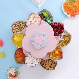 Kreatywny płatek kwiatu talerz na owoce pudełko do przechowywania cukierków 5 siatek orzechy taca na przekąski obrotowe kwiaty ż