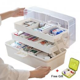Plastikowy pojemnik do przevhowywania pudełko medyczne pudełko typu organizer 3 warstwy wielofunkcyjna przenośna szafka na leki