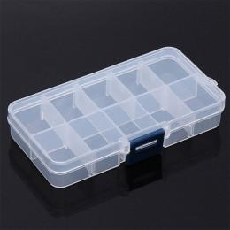 10 siatki regulowane przeźroczyste tworzywo sztuczne pudełko na małe przedmioty narzędzie jubilerskie pudełko koralik organizer