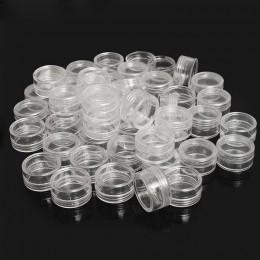 50 sztuk 2.5ML przezroczysty z tworzywa sztucznego pudełko na biżuterię i koraliki pudełko małe okrągły pojemnik słoiki organiza