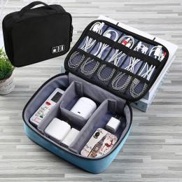 Wielofunkcyjny przenośny pojemnik do przechowywania torba podróżna z organizatorem gadżet USB kabel do ładowarki torebka na słuc
