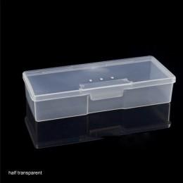 Stojak pudełko wystawowe organizator Case bufor szlifowanie plików plastikowe przezroczyste urządzenie do paznokci schowek narzę