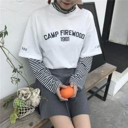 T-shirty damskie tunika Kawaii Ladies Vintagestriped T-shirt z długim rękawem kobieta Ulzzang Harajuku Tee dla kobiet top na co