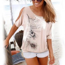 Kobiety lato 2020 Tshirt na co dzień z krótkim rękawem topy koszulki Sexy Off ramię nadruk z piór T-Shirt O-neck luźne Plus rozm