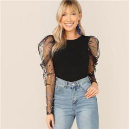 SHEIN czarna kolorowa kropka Puff siatka na ramię Gigot rękaw wąska koszulka O-Neck T koszula damska wiosenna dopasowana pasuje
