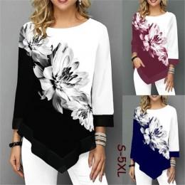 S-5XL T koszula kobiety Plus rozmiar trzy czwarte panie koszulki kwiatowy Print luźne Casual topy kobiet nieregularne jesienne u