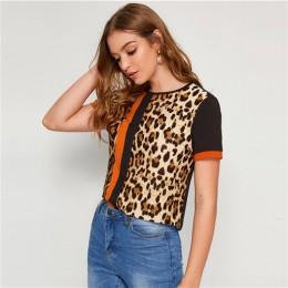 SHEIN color block wytnij i szyć Leopard góry panelu z krótkim rękawem O-Neck Casual T koszula kobiety 2019 lato rozrywka panie T