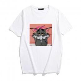 Nowy Ulzzang kawaii kot i mysz luźna na co dzień z krótkim rękawem zabawa śliczne kobiece nadruk kreskówkowy lato topy koszulki