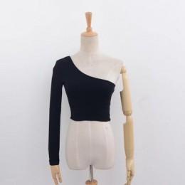 Off Shoulder Sexy kobiet Crop Top z dzianiny kobiety białe czarne bluzki Streetwear elastyczne szorty T shirt Knitting przycięte