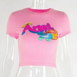 LVINMW Sexy anioł list drukuj O Neck z krótkim rękawem tshirt 2019 lato kobiety dorywczo szczupła moda T Shirt kobiet Streetwear