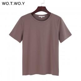 WOTWOY 2020 letnia bawełniana T koszula kobiety luźny styl jednolita koszulka koszula kobiet z krótkim rękawem koszulki O-Neck T