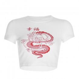 Rockmore biały chiński znak nadruk ze smokiem T koszula kobiety Bodycon koszulka na co dzień koszulka Femme Streetwear topy kosz