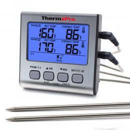 ThermoPro TP17 podwójne sondy cyfrowy zewnętrzny termometr do mięs gotowanie termometr piekarnika BBQ z dużym ekranem LCD do kuc