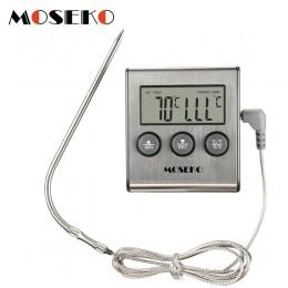MOSEKO cyfrowa kuchenna termometr piekarnik jedzenie gotowanie mięso BBQ termometr z sondą z zegarem mleko temperatura wody narz