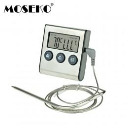 MOSEKO YS-05 cyfrowe jedzenie mięso gotowanie termometr kuchenny dla palacza Grill piekarnika grilla zegar z sonda ze stali nier