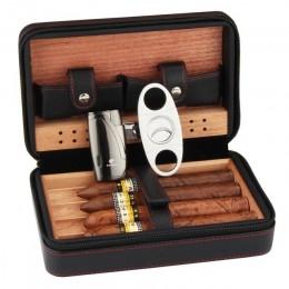 COHIBA z drewna cedrowego cygaro Humidor podróży przenośne skórzane etui na cygara cygara Box z zapalniczką Cutter nawilżacz skr