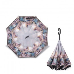 2018 składany długi trzon dwuwarstwowy odwrócony parasol wiatroszczelny odwrócony c-hak męski parasol golfowy odwrócone parasole