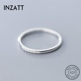 INZATT prawdziwe 925 ze srebra wysokiej próby z cyrkonią okrągły geometryczny pierścień dla kobiet mody śliczne Fine Jewelry 201