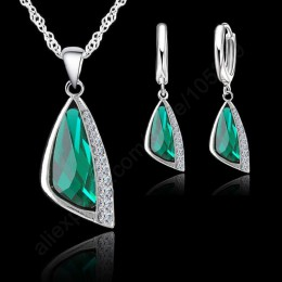 Modne zestawy biżuterii 925 srebro cyrkonia biżuteria naszyjnik wisiorek kolczyki darmowa wysyłka