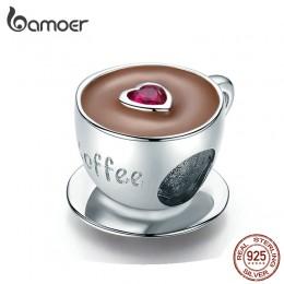 Bamoer filiżanka kawy metalowe koraliki dla kobiet europejskiej Charm bransoletka 925 srebro emalia moda piękna biżuteria SCC128