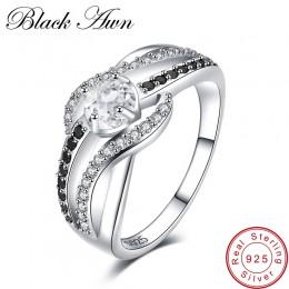 [Czarny AWN] grzywny 3.5G oryginalna 925 Sterling Silver biżuteria Trendy obrączki dla kobiet Wedding Ring C047
