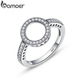 BAMOER 100% oryginalna 925 Sterling Silver Forever wyraźna czerń CZ koło okrągłe pierścienie dla kobiet biżuteria Christmas Gift