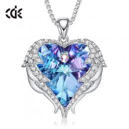 CDE kobiety srebrny kolorowy naszyjnik ozdobiony kryształy swarovskiego naszyjnik skrzydła anioła serce wisiorek walentynki, pre
