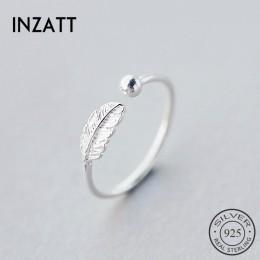 INZATT autentyczne 925 srebro słodkie pióro osobowości regulowany pierścień Fine Jewelry dla kobiet Party eleganckie akcesoria
