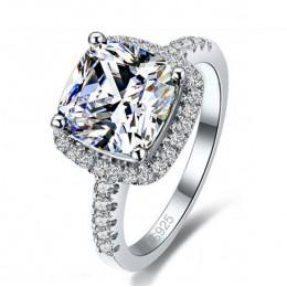 Proste kobiety kryształ 925 srebro pierścionki na ślub biżuteria zaręczynowa akcesoria grzywny Rhinestone Anillos prezent