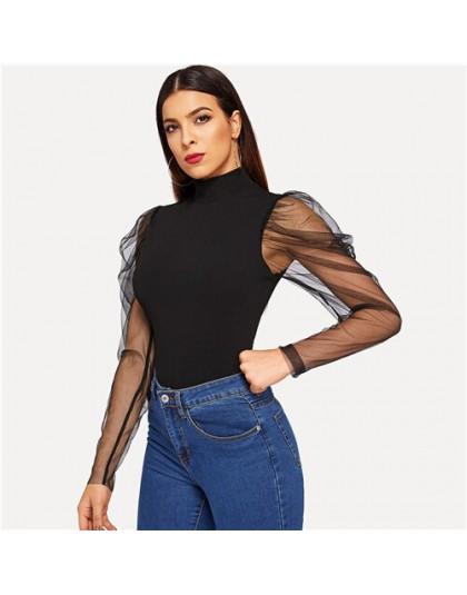 SHEIN Going Out Highstreet czarna siatka Gigot rękaw na szyję dopasowana góra 2018 jesień Casual kobiety nowoczesna dama Tshirt