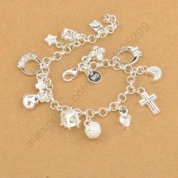 Exquisite Top Quality 925 Sterling Silver urocza bransoletka wisiorki ładny krzyż księżyc serce zegar biżuteria dla kobiet dziew