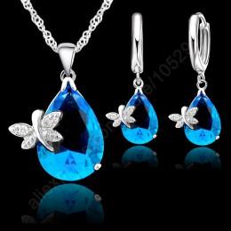 Piękna kropla wody spadek austriackie kryształowe zestawy biżuterii ślubnej dla nowożeńców dla kobiet 925 srebro naszyjniki kolc