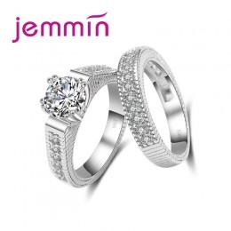 2 sztuk/partia kobiet krystaliczne białe okrągłe zestaw pierścieni luksusowe 925 srebrny pierścionek zaręczynowy dla kobiet Ladi