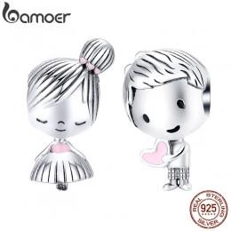 Bamoer chłopiec i dziewczynka urok na oryginalne srebro 925 bransoletka oryginalne 925 srebro metalowe koraliki prezenty walenty