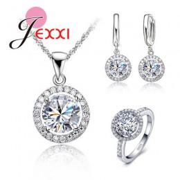 Oryginalna 925 Sterling Silver biżuteria słońce wisiorek kwiat naszyjnik kolczyki + pierścionki Shining cyrkonia dla kobiet Brid