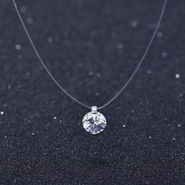 Lato 925 srebro Stereo przezroczysta żyłka wędkarska stealth naszyjnik Snowball Crystal z Swarovskis zamki Chain Valentine Gift