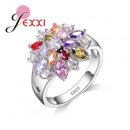 Dziewczyny błyszczące biżuteryjne akcesoria Finger moda 925 Sterling Silver Colorized kształt kwiatu pierścienie hurtownie