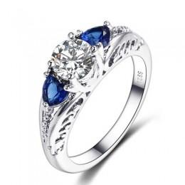 Bague Ringen Classic 100% 925 Sterling Silver Sapphire Gemstone obrączki ślubne dla kobiet biżuterii prezent hurtownie