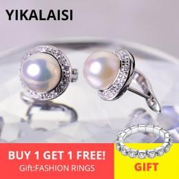 YIKALAISI 925 Sterling Silver biżuteria Pearl kolczyki 2019 Fine biżuteria-naturalne perły 8-9mm stadniny kolczyki dla kobiet sp