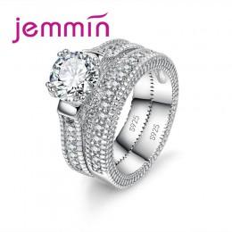 Luksusowy biały ślubny zestaw pierścieni ślubnych biżuteria obietnica CZ kamień obrączki dla kobiet oryginalna biżuteria srebrna