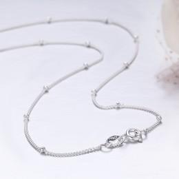 35-80cm Slim cienka czysta 925 srebro koraliki Curb choker łańcuszek naszyjniki kobiety biżuteria dziewczęca kolye collares coll