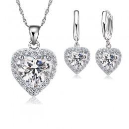 Drobne 925 srebro komplet biżuterii damskiej ślubne serce austriackie naszyjniki z kryształem kolczyki zestaw walentynki
