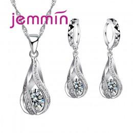 Darmowa wysyłka Top Quality 925 Sterling srebrne wesele Party biżuteria ustawia wielekolorowy kryształy naszyjnik kolczyki